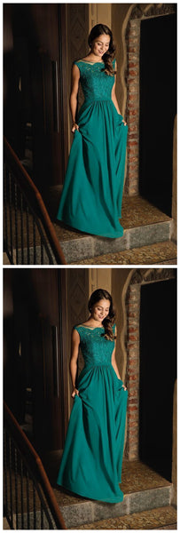Cap Sleeves Teal Green Long Evening Dress Gown,JJ131