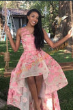 A-Line V-Neck High Low Pink Organza Homecoming Dress with Appliques ,1337