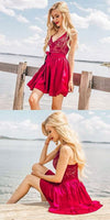 A-Line V-Neck Sleeveless Red Chiffon Homecoming Dress with Lace Sash,1338