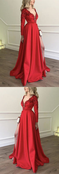 Stylish Embroidery Beaded Long Sleeves Satin Evening Dresses,JJ133