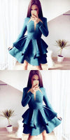 A-Line Jewel Long Sleeves Tiered Turquoise Satin Homecoming Dress,1345