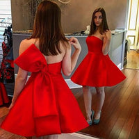 Red homecoming dress,Simple homecoming dress,lovely bow knot homecoming dresses,1347