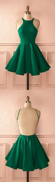 Green homecoming dresses,backless homecoming dress,1348