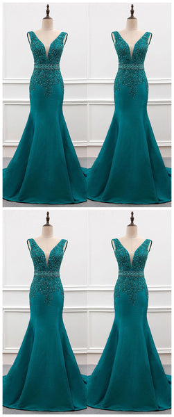 Charming Prom Dress,Appliques Prom Dress,Mermaid Dress,Satin Prom Dress,JJ134