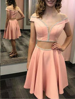 Two Piece Homecoming Dress Off the Shoulder Short Pink Cocktail Dress with Beading ,1350