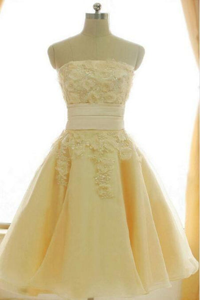 Lace Homecoming Dress,Yellow Homecoming Dress ,1360