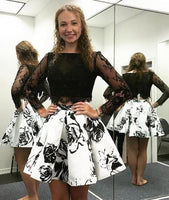 Elegant 2 Piece Long Sleeves Black Short Homecoming Dress with Lace Beading Printed ,1361