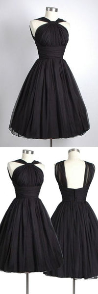 Vintage Knee-Length Sleeveless Open Back Black Homecoming Dress ,1366