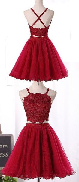 Wine Red Two Piece Tulle And Lace Homecoming Dress, Lovely Party Dresses,1368
