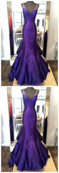 Prom Dress,Satin Prom Dress,V-Neck Evening Dress,Beading Prom Dress, JJ136