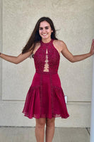 Cute Halter Short Red Homecoming Dress ,1372