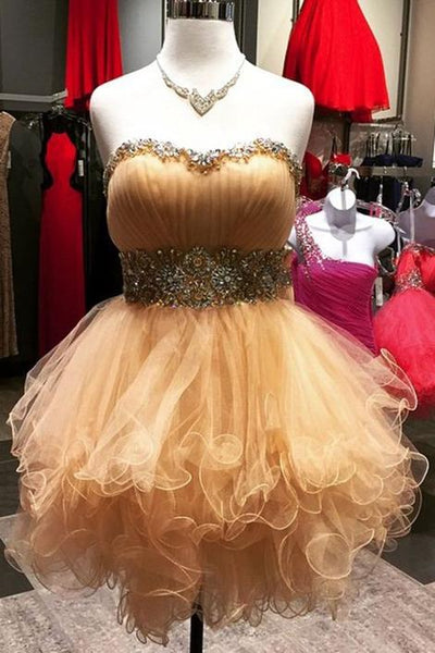 homecoming dresses,Champagne sweetheart beading short dress,strapless cute dress,1379