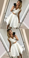 Two Piece A-Line V-Neck White Short Homecoming Dress,1381