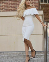 Off the Shoulder White Knee Length Graduation Dress ,Slim Homecoming Dress,1385