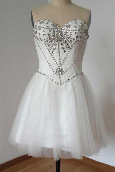 White Homecoming Dresses Open Back Sleeveless Beaded Knee-length Sweetheart Neckline ,1387