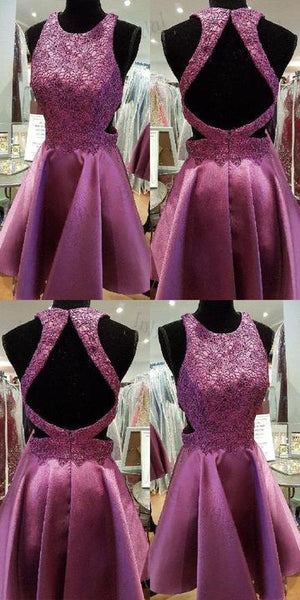 Short Homecoming Dress, Homecoming Dress Purple, Lace Homecoming Dress ,1396