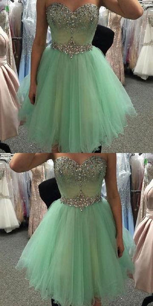 Sweetheart Neck Strapless Beaded Mint A-line Homecoming Dresses,1397