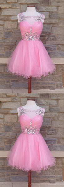 Cute A line homecoming dresses blush pink with beaded neck ,1400