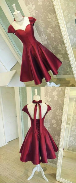 Burgundy Satin Short Homecoming Dresses with Cap Sleeves,1042