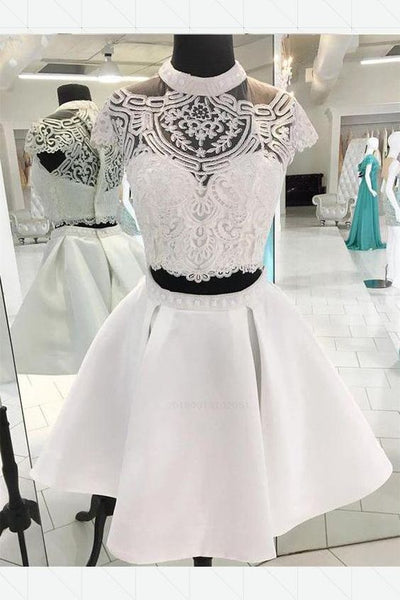 Custom Made Engrossing A-Line Homecoming Dress, Homecoming Dress 2019, Two Pieces Homecoming Dress, Homecoming Dress Lace,1438