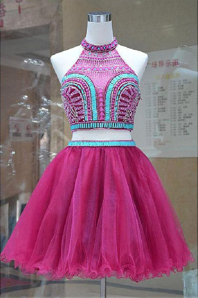 Customized Light Two Pieces, A-Line, Pretty, Short, Homecoming dress, 1442