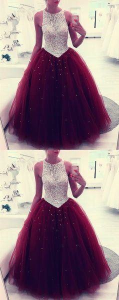 Sequin Beaded Scoop Neckline Tulle Backless Quinceanera Dresses Ball Gowns,JJ144