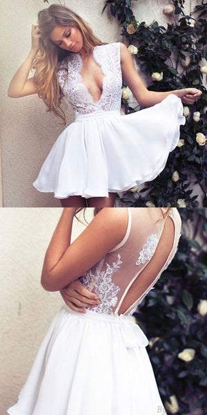 Elegant Deep V Neck Lace Short White Party Prom Dress only,homecoming dress,1450