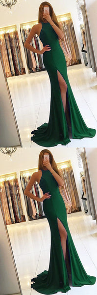 Green Long Mermaid Evening Dresses Backless Prom Gowns,JJ147
