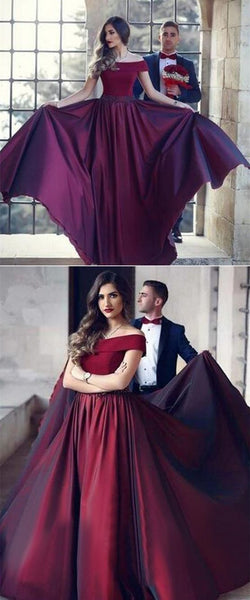 A-Line Off-the-Shoulder Long Burgundy Prom Dress with Beading,JJ148