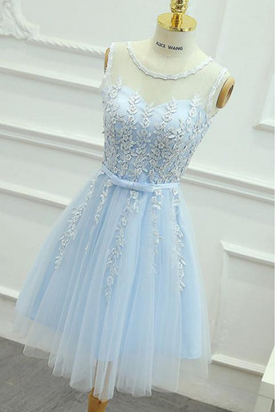 Lace Party Dress, Wedding Dresses Short, Blue Wedding Dresses, Light Blue Party Dress.homecoming dress,1504