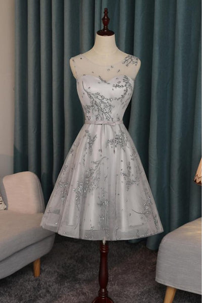 Grey Party Dress, Party Dress For Cheap, Wedding Dress A-Line, Lace Party Dress,homecoming dress,1511