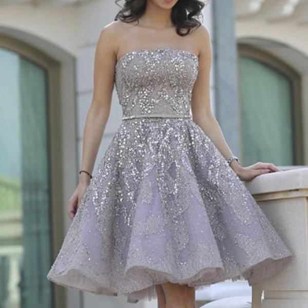 2019 Popular Grey strapless Gorgeous A-line homecoming prom gown dress,JJ512