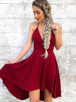 A-Line Deep V-Neck Spaghetti Straps Dark Red Homecoming Dresses,1525