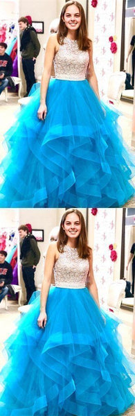 Beaded Organza Ruffles Ice Blue Ball Gown Prom Dress,JJ153