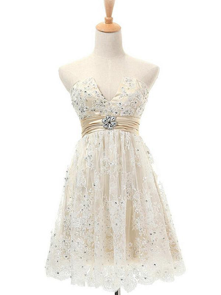 New Ivory Lace Homecoming Dresses,Strapless Homecoming Dresses With Beading,1549