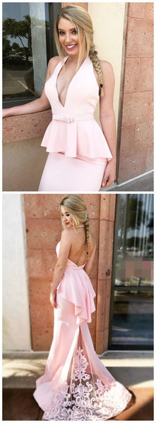 Mermaid Halter Backless Sweep Train Pink Prom Dress with Appliques,JJ155