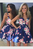 Comely V-Neck Homecoming Dresses, Party Dresses A-Line, Party Dresses Blue, Dark Blue Homecoming Dresses,1561