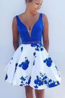 A-line Royal Blue and White Short Floral Homecoming Dress ,1562