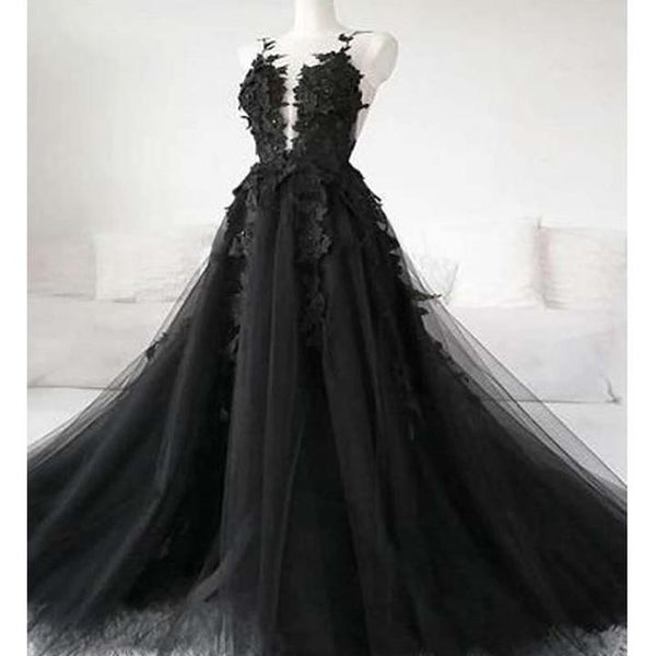 Black See-through Charming Scoop Neckline Long A-Line Tulle Prom Dresses With Appliques, Prom Dresses, 1593