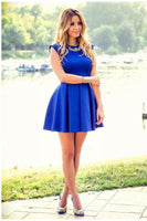 Cheap Dazzling Sleeveless, Short, Backless, Blue,homecoming dress,1599