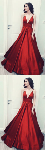 Sexy Spaghetti Straps V-neck Long Satin Red Bridesmaid Dresses Floor Length,JJ 159