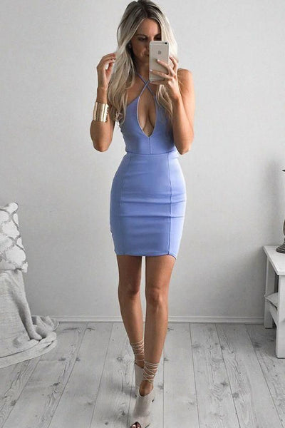 Sheath Cross Neck Backless Short Sky Blue Homecoming Cocktail Dress , homecoming dress,1618