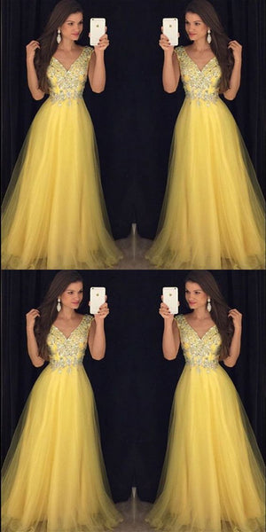 Pretty Beading V Neck Long Yellow Prom Dresses, Formal Evening Gowns,Evening Party Dresses,JJ164