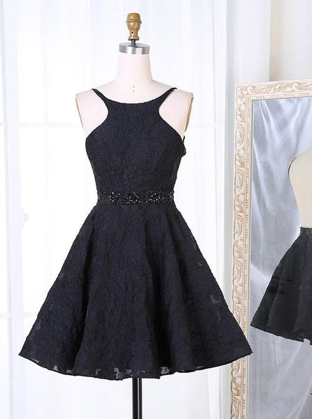 Black Lace Cocktail Dress,Open Back Cocktail Dresses,Sexy Homecoming Dress,1657