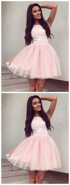 A-Line Bateau Sleeveless Pearl Pink Homecoming Dress with Appliques,JJ165