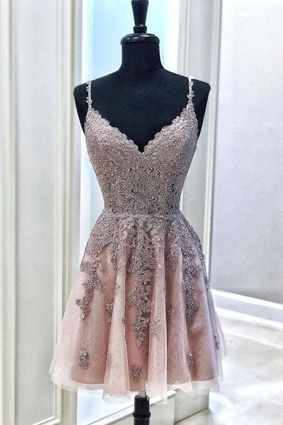 Cute Spaghetti Straps Mude Pink V Neck Lace Appliques Homecoming Dresses with Tulle,1662