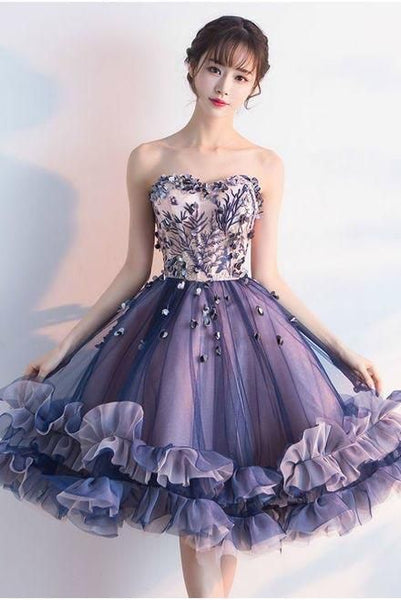 Unique Strapless Sweetheart Purple Sleeveless Homecoming Dresses with Flowers, 1664