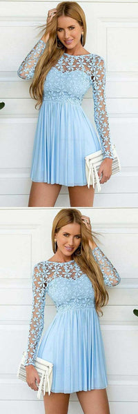 Vogue  Dress Short, Chiffon Homecoming Dress, Light Blue Homecoming Dress Dress Blue,1669
