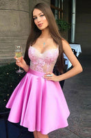 A-Line Spaghetti Straps Above-Knee Pink Party Homecoming Dress with Appliques,1698