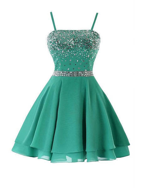 homecoming dress,A-line/Princess Mini Green Chiffon Sexy Sleeveless Straps Backless Short Dresses Homecoming With Sequin Summer,1705